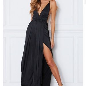 Black Hello Molly Silk Prom Maxi Dress with Slit